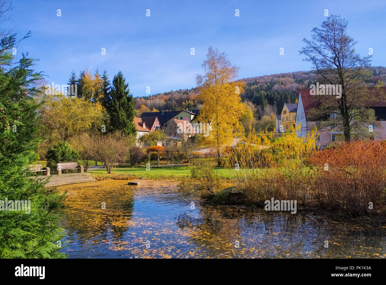 Jonsdorf Park im Herbst im Zittauer Gebirge - Jonsdorf Park in fall in Zittau Mountains Stock Photo