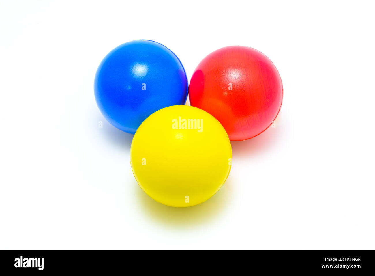 colour ball Cyan Magenta Yellow on white background - Stock Image