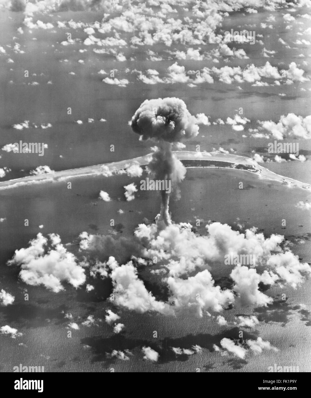 Mushroom cloud from Operation Crossroads nuclear weapons test at Bikini Atoll, Marshall Islands, Pacific Ocean in - Stock Image