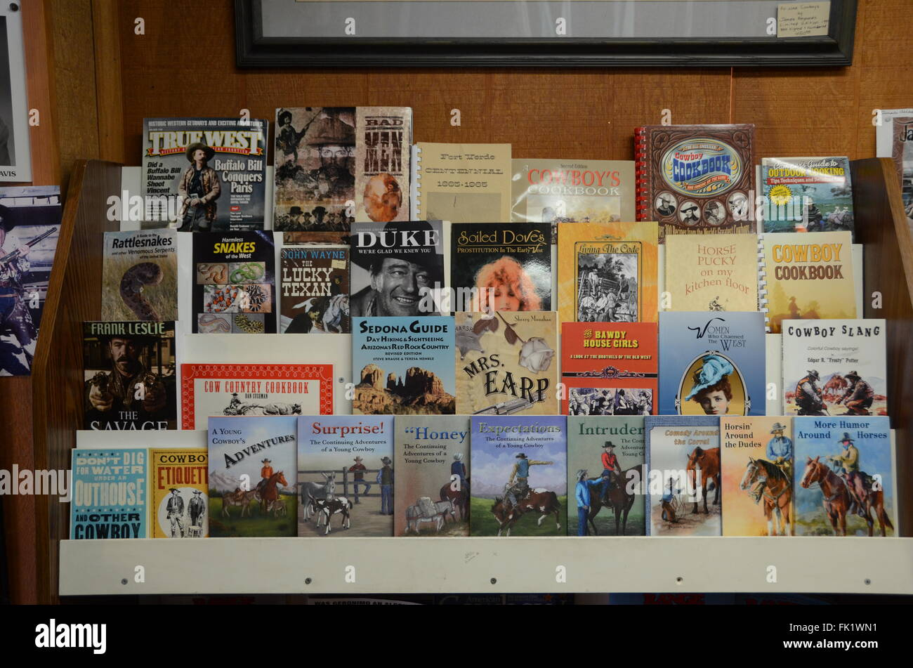 cowboy publications and books in sedona store childrens books history magazines - Stock Image
