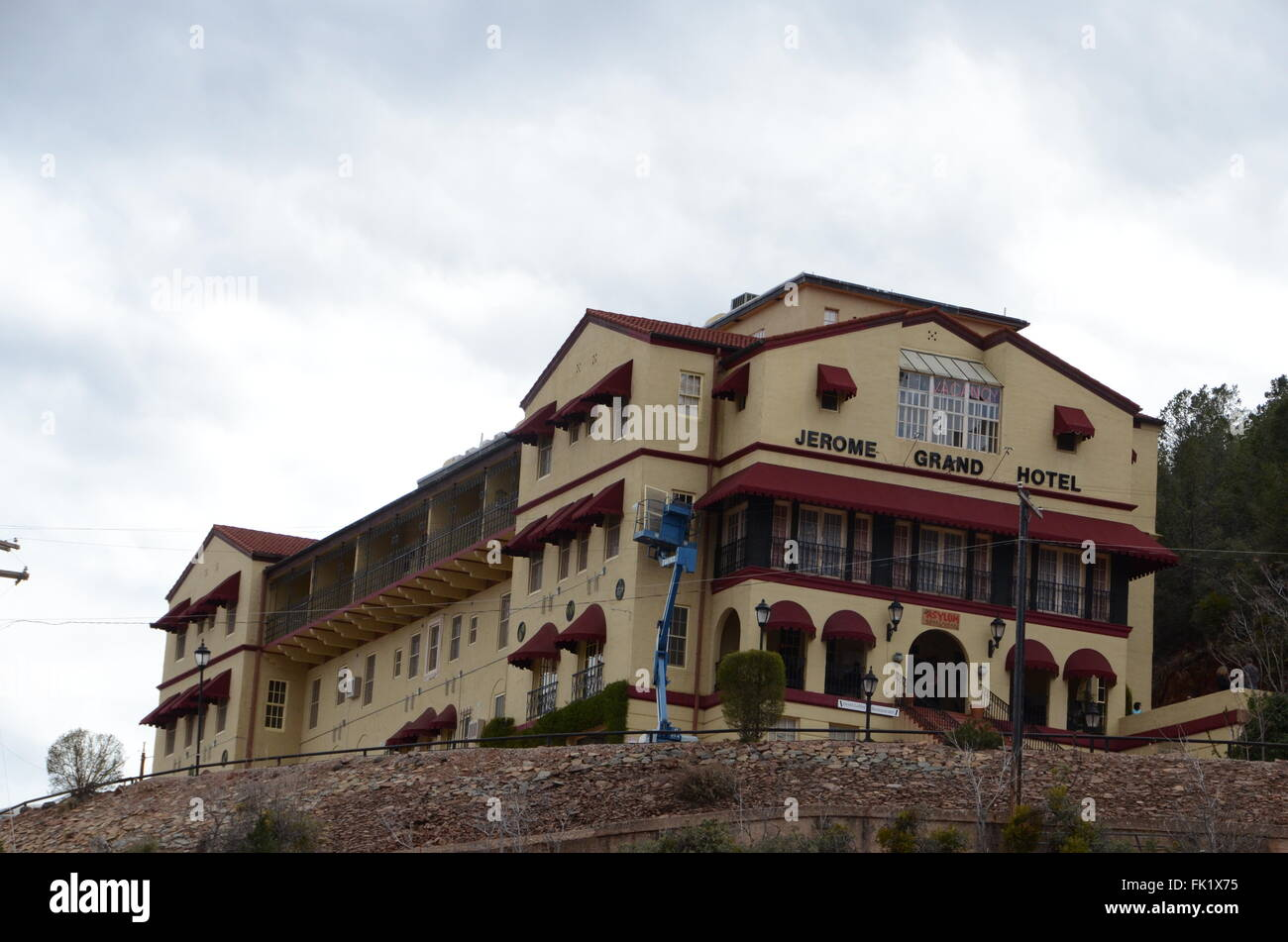 jerome grand hotel arizona haunted ex mental asylum - Stock Image