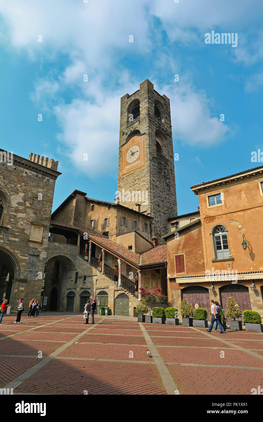Bergamo Old Town. Piazza Vecchia. Town hall Stock Photo