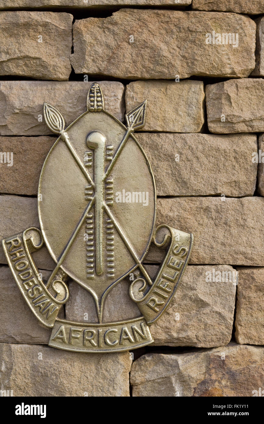 Remembering the Armed forces, Badges and shields, Rhodesian African rifles - Stock Image