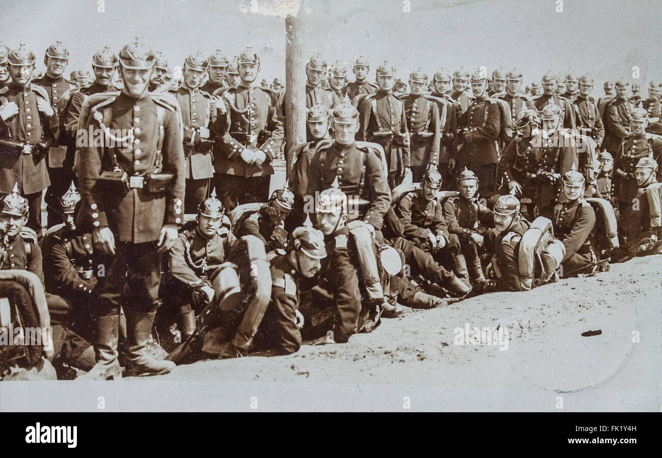 german soldiers during first word war group photo Stock Photo