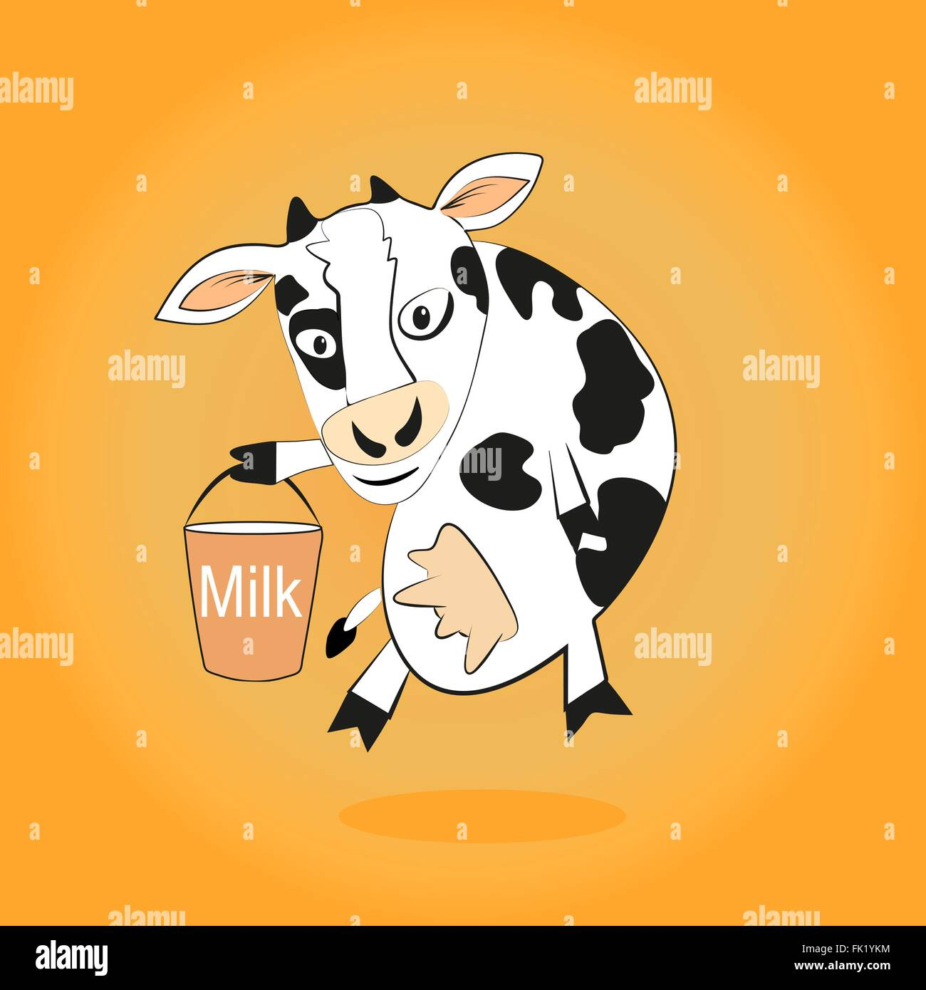Smiling cow gives milk bucket - Stock Vector