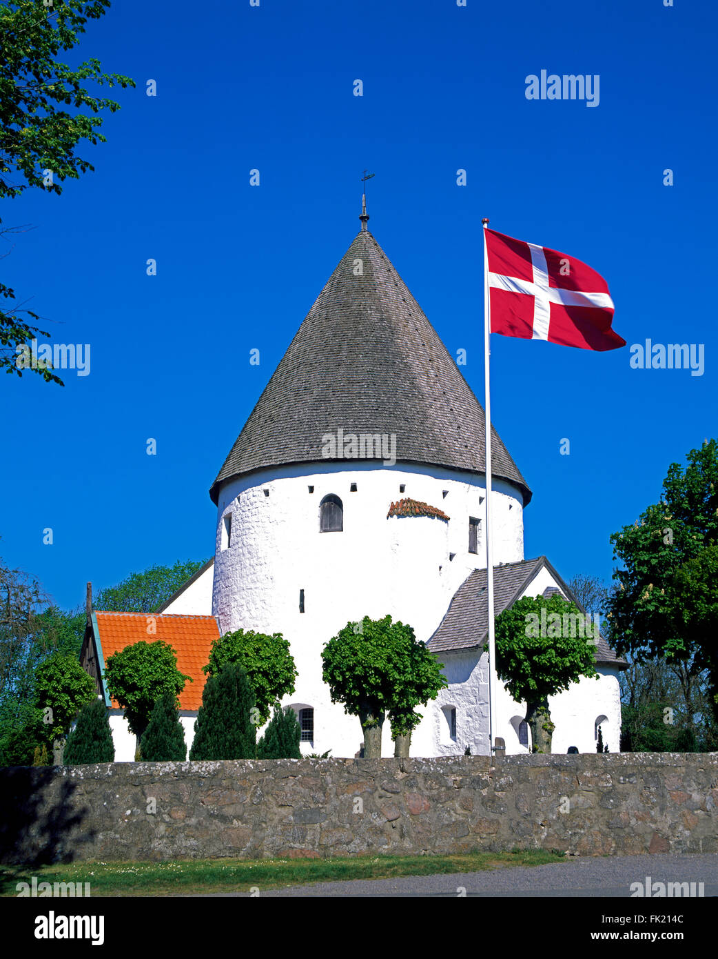 Round church Ols Kirke, Olsker, Bornholm island, Denmark, Scandinavia, Europe - Stock Image