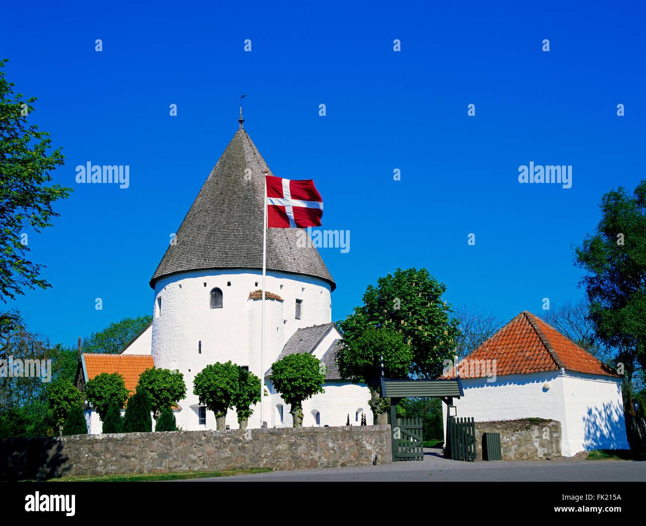 Round church Ols Kirche, Olsker, Bornholm island, Denmark, Scandinavia, Europe - Stock Image