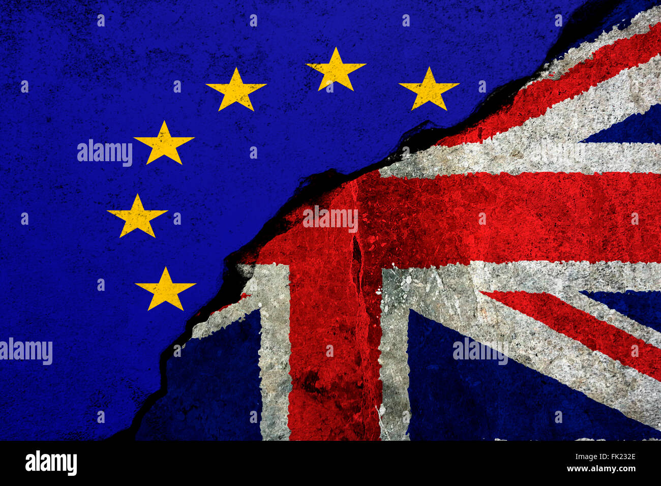 Brexit: Flags of the United Kingdom and the European Union to illustrate possible exit of Great Britain from the Stock Photo