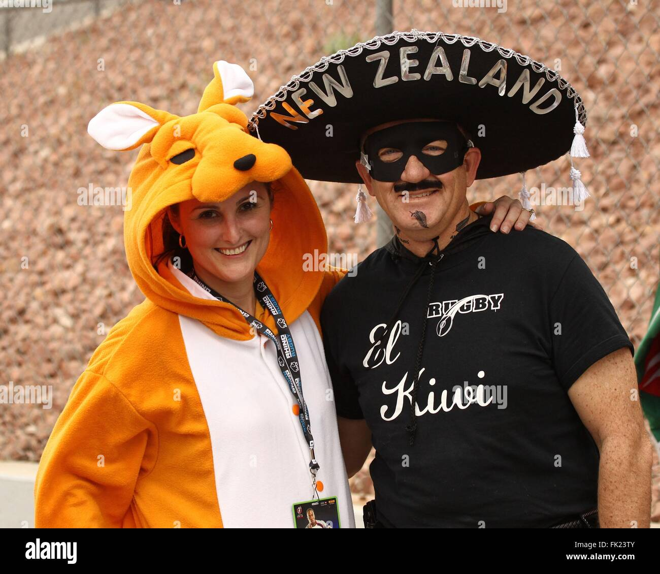 Las Vegas, NV, USA. 5th Mar, 2016. Rugby fans wearing Kangaroo and Zoro costumes in attendance for USA Sevens International - Stock Image