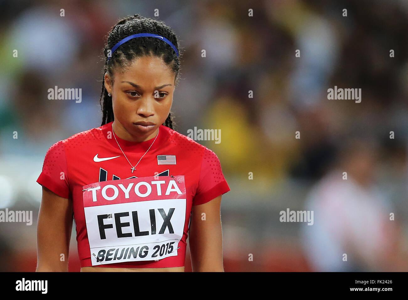 Allyson Felix at the IAAF World Championships, Beijing 2015 - Stock Image