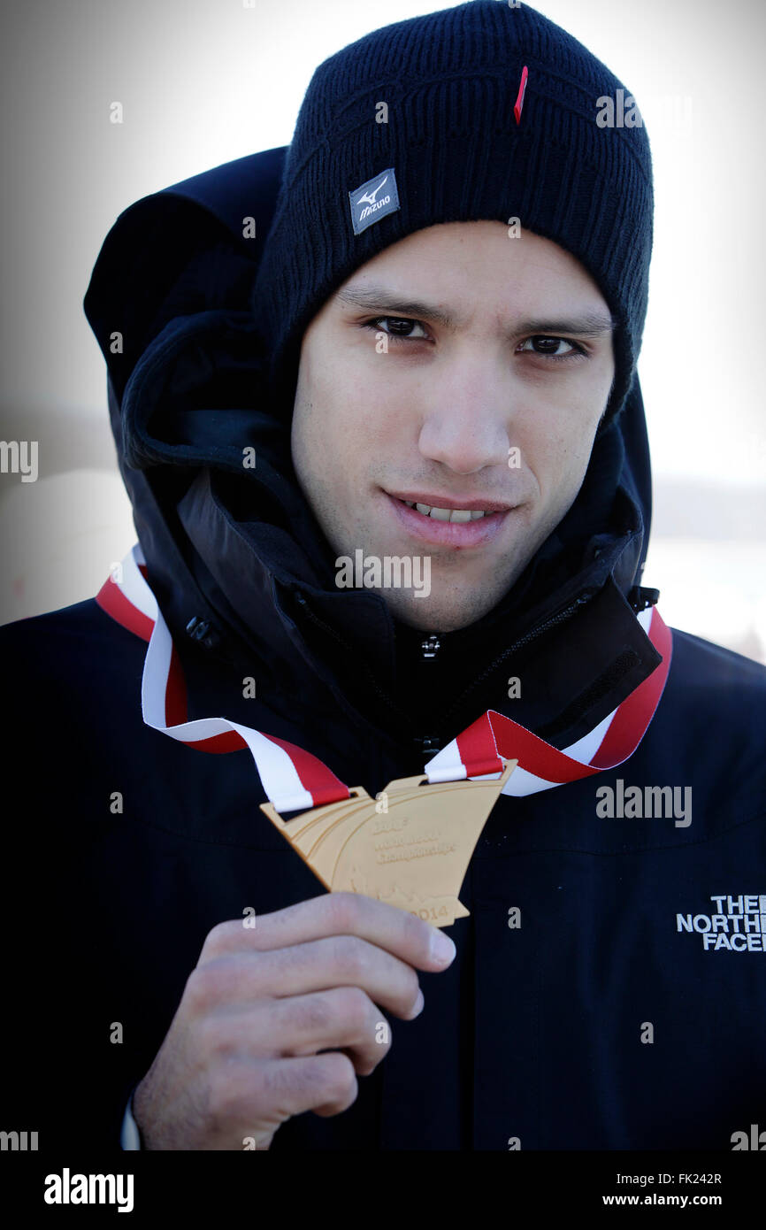 Kostandinos Filippidis in Sopot posing with Gold Medal. - Stock Image