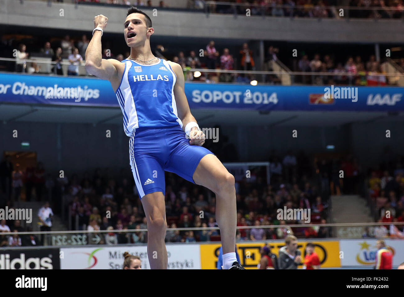 SOPOT, POLAND - MARCH 08:  Kostadinos Filippidis during day two of the IAAF World Indoor Championships at Ergo Arena. - Stock Image