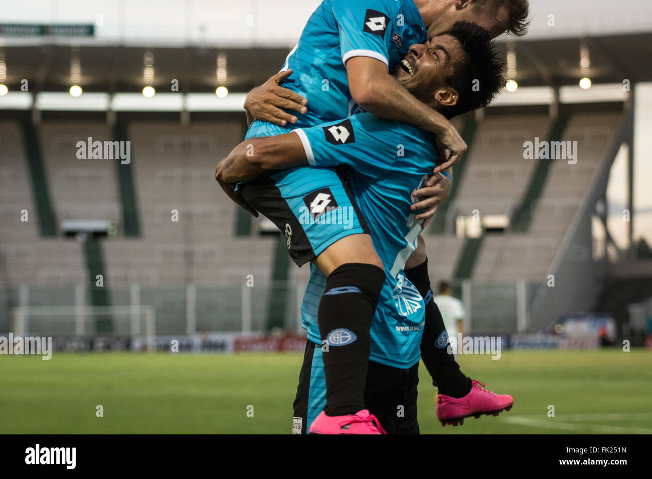 Cordoba, Argentina. 5th March, 2016. Celebration for the goal Belgrano Soccer Team, during a match between Belgrano - Stock Image