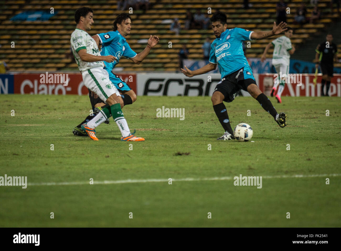 Cordoba, Argentina. 5th March, 2016. Belgrano Soccer Team, during a match between Belgrano and Sarmiento as part - Stock Image