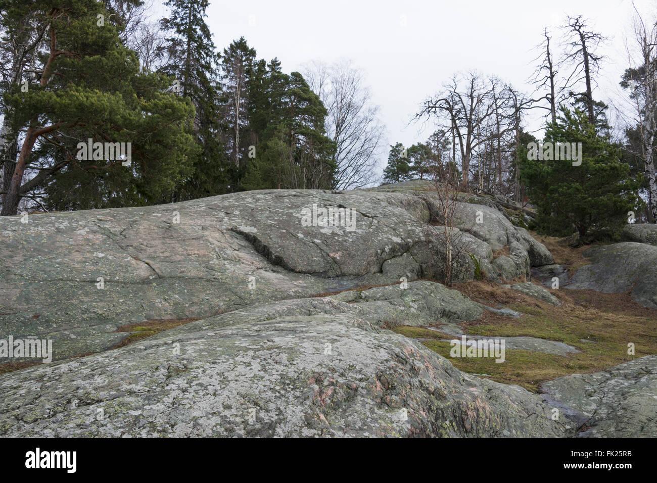 Rocks of Seurasaari Open-Air Museum - Stock Image