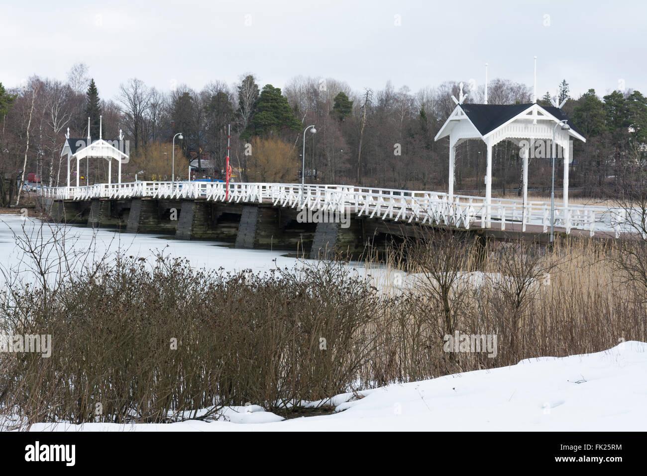 Wooden Bridge to Seurasaari Open-Air Museum - Stock Image