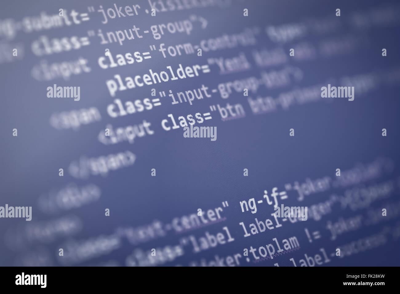 web page source codes macro - Stock Image
