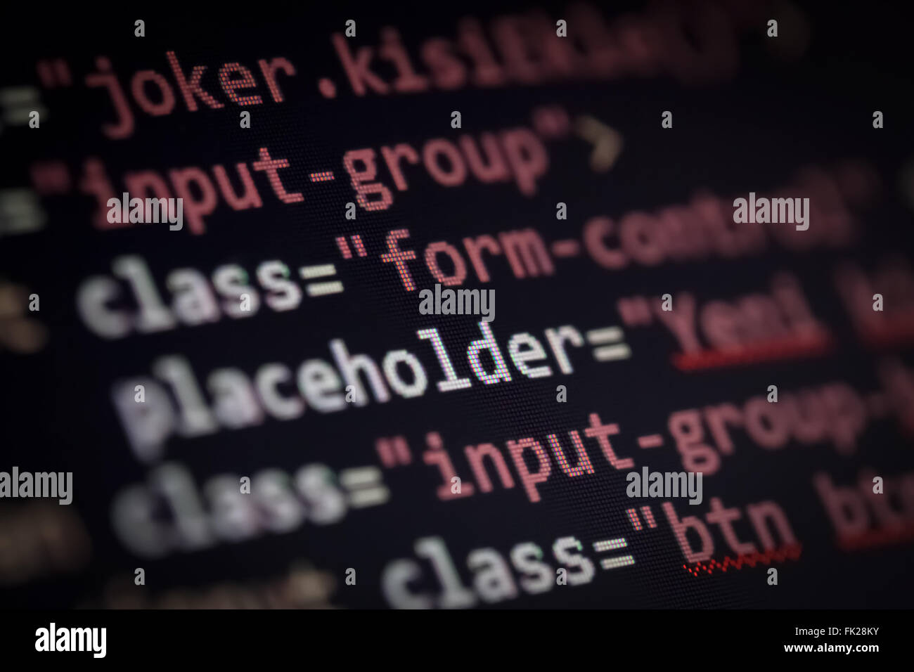 web page source codes macro - Stock Image
