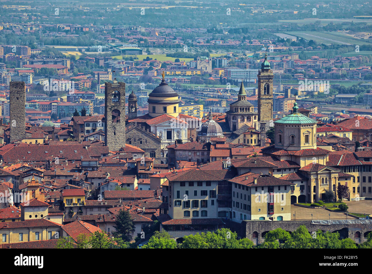 View at Old Town Citta Alta of Bergamo from San Vigilio Hill. Bergamo is a beautiful ancient town in Lombardy, Italy - Stock Image