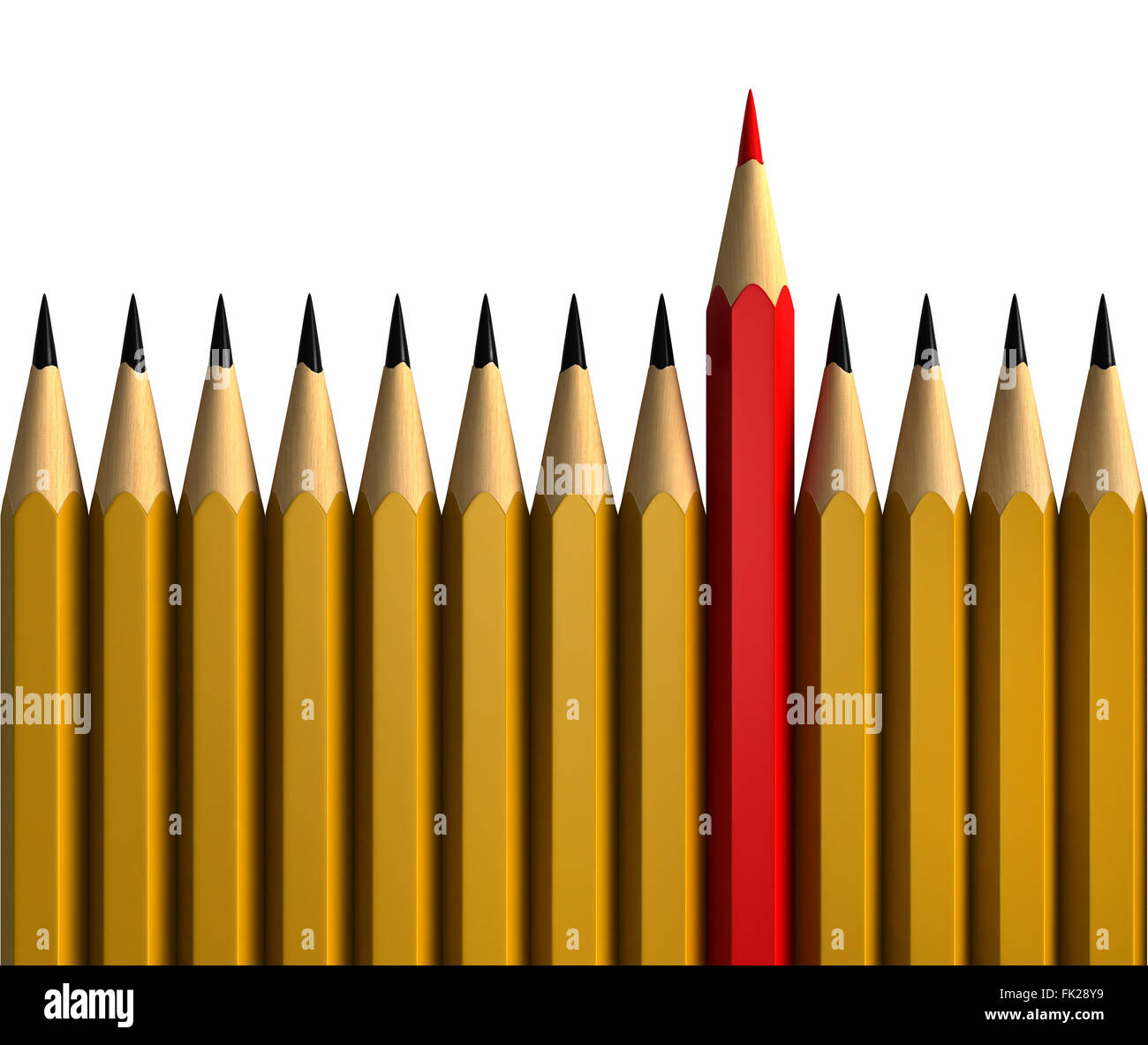 Be unique - conceptual 3d render of pencils isolated over white background - Stock Image