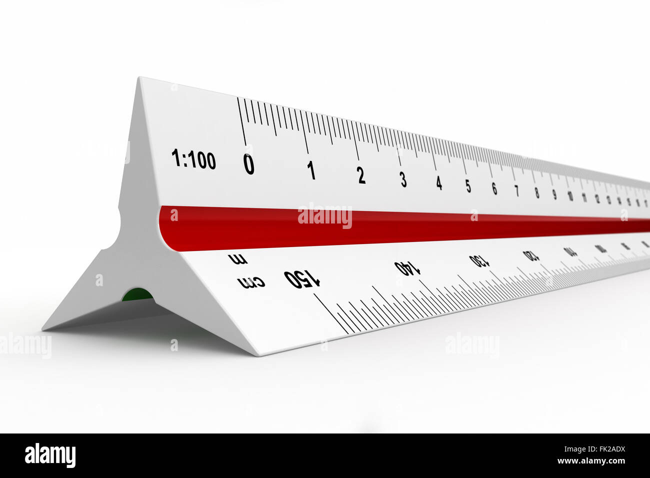 3d render of reduction scale ruler on white background - Stock Image