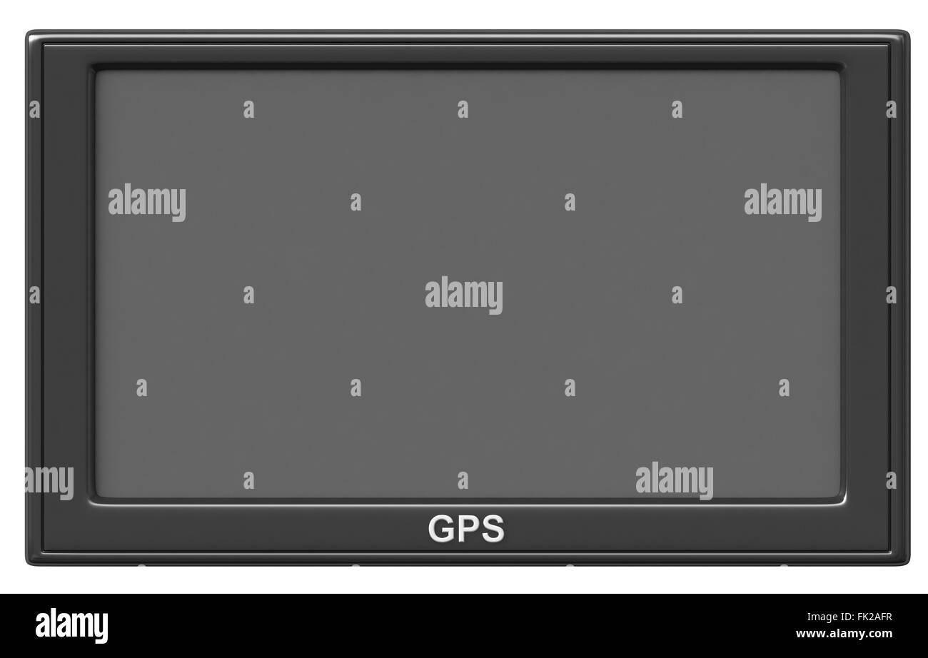 3d render of GPS navigation device isolated on white background - Stock Image