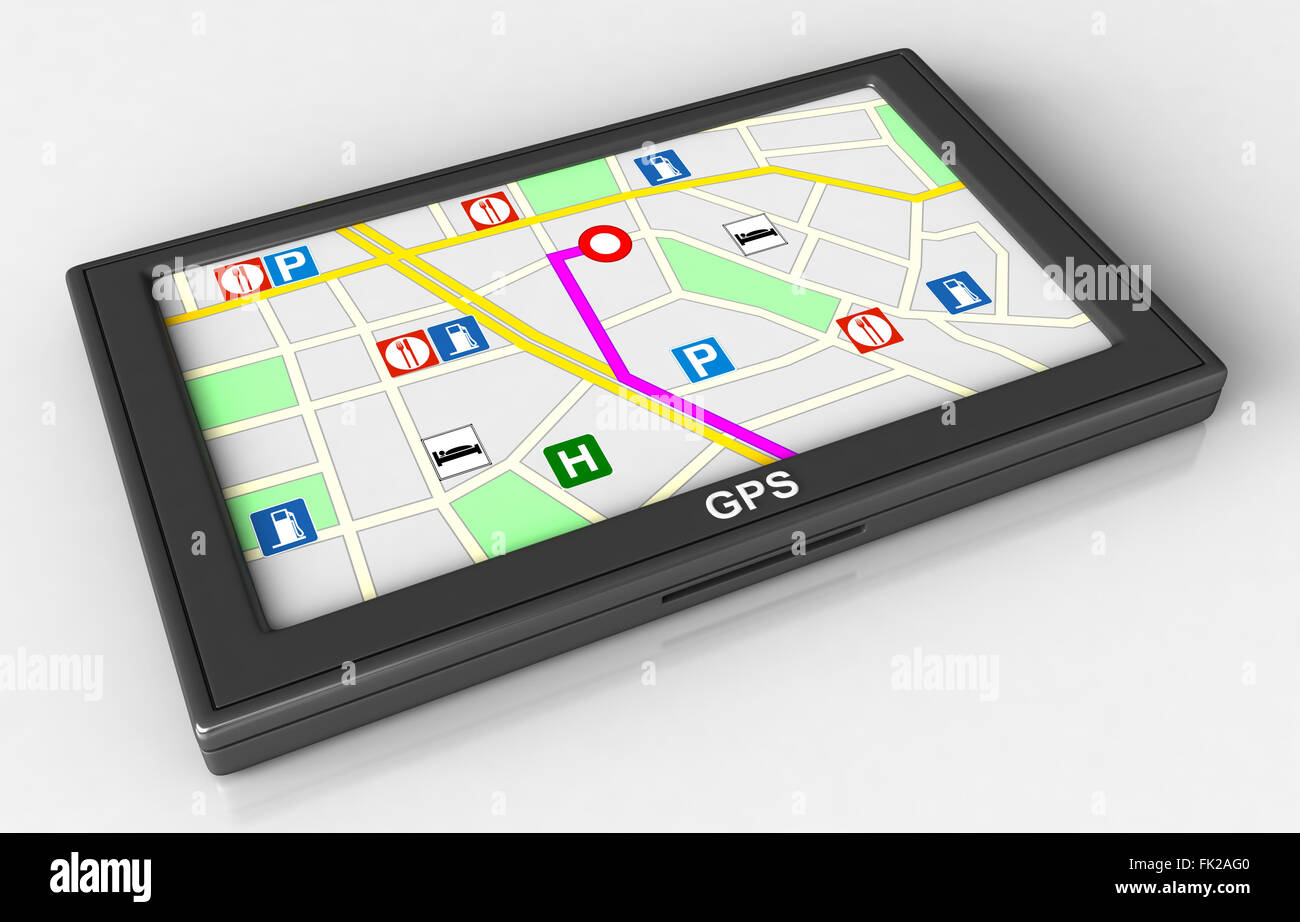 3d render of GPS navigation device on white background - Stock Image