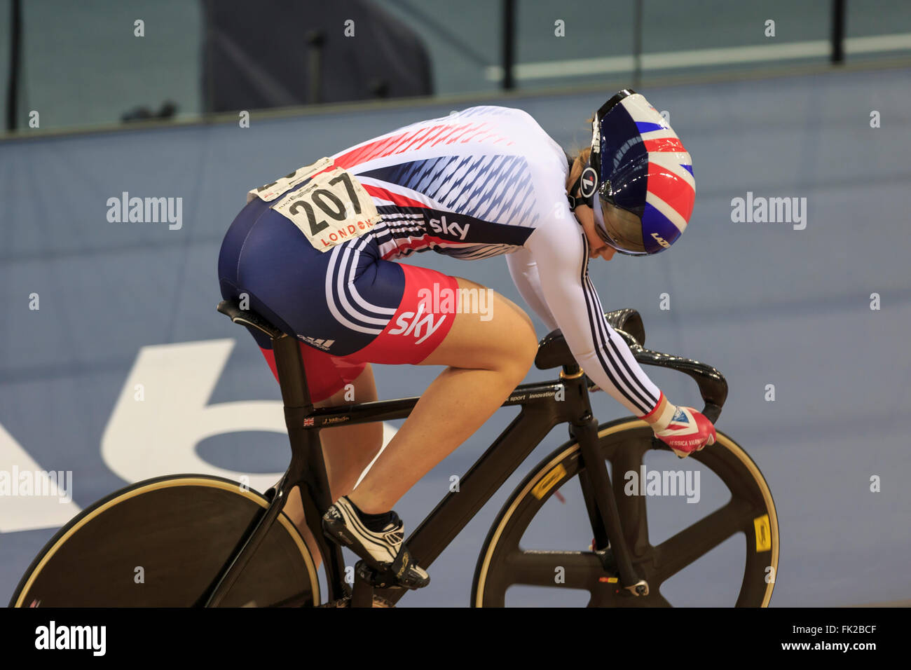 London, UK, 5 March 2016. UCI 2016 Track Cycling World Championships. Great Britain's Jess Varnish progressed - Stock Image