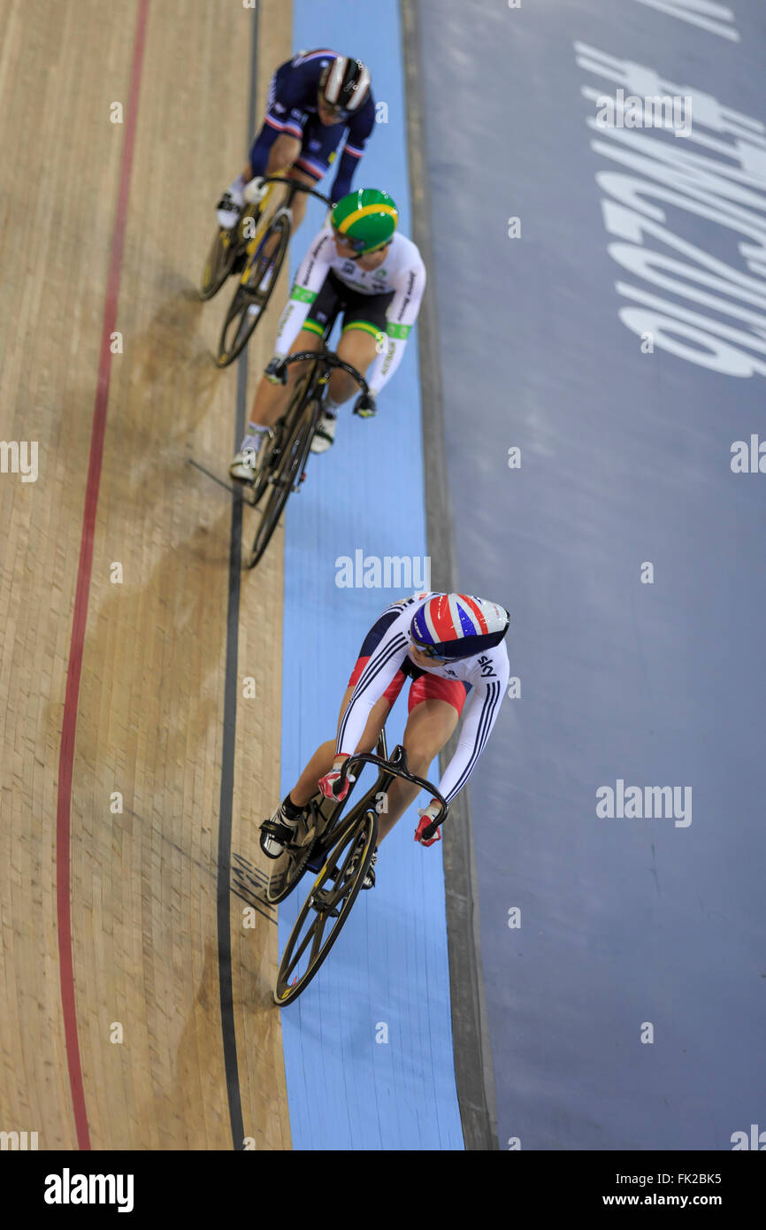 London, UK, 5 March 2016. UCI 2016 Track Cycling World Championships. Great Britain's Jess Varnish was beaten - Stock Image
