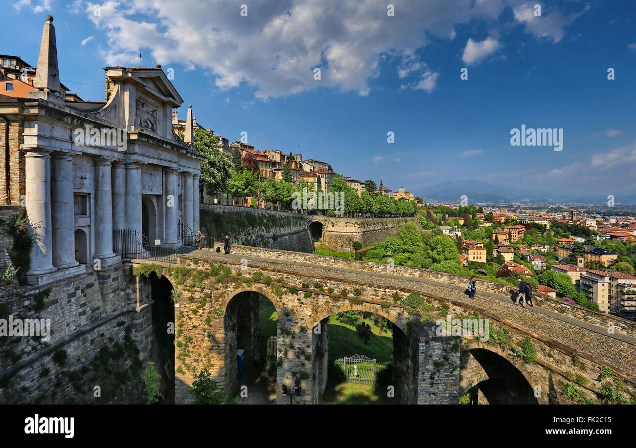 The gates Porta San Giacomo in Citta Alta, Bergamo, Italy - Stock Image