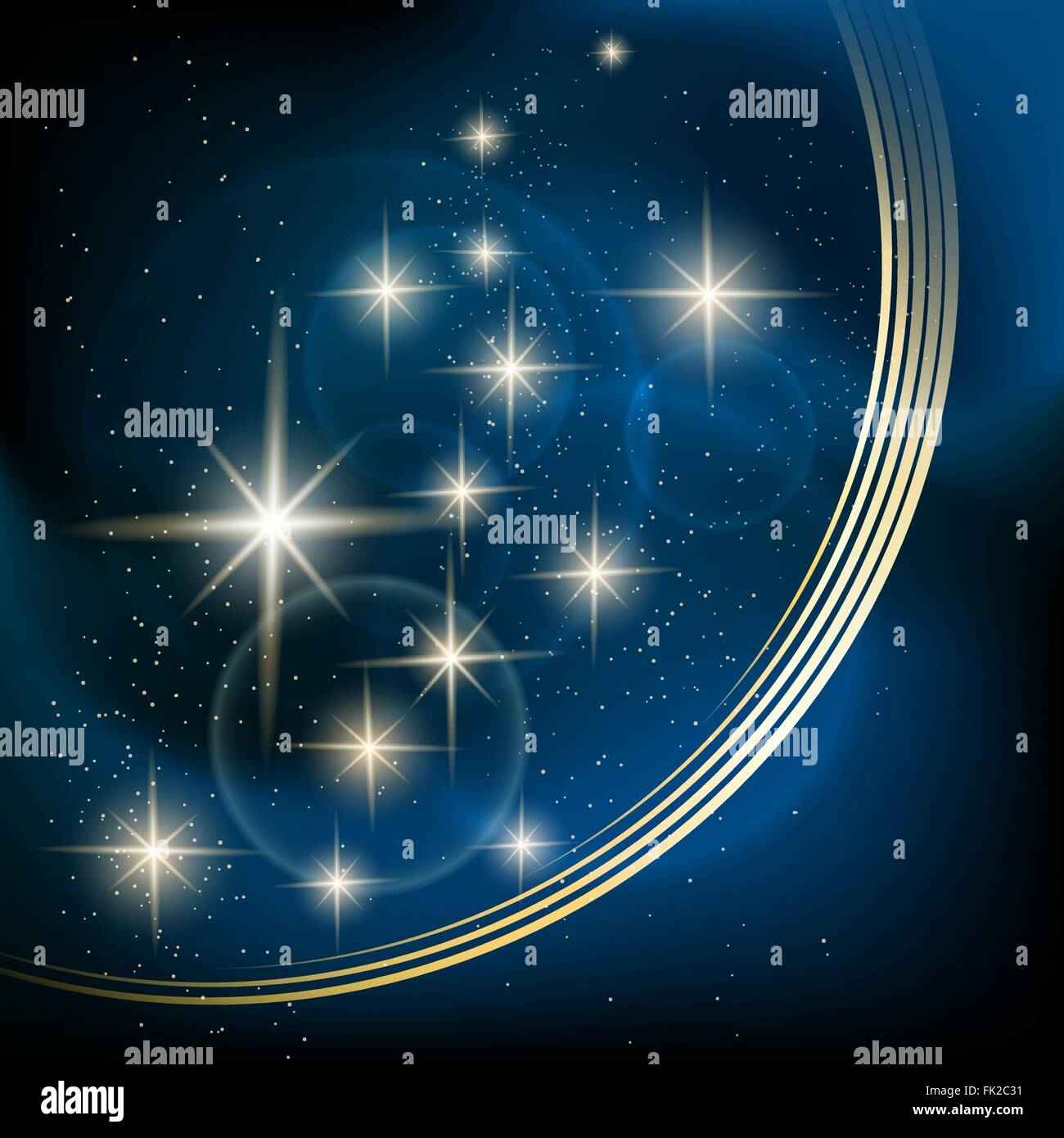 Cosmic background with shining stars. Space illustration for your design. - Stock Vector