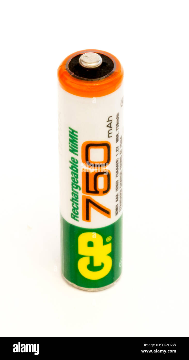 GOMEL, BELARUS - FEBRUARY 2, 2016: GP AAA alkaline battery on a white background. Gold Peak Industries (Holdings) - Stock Image