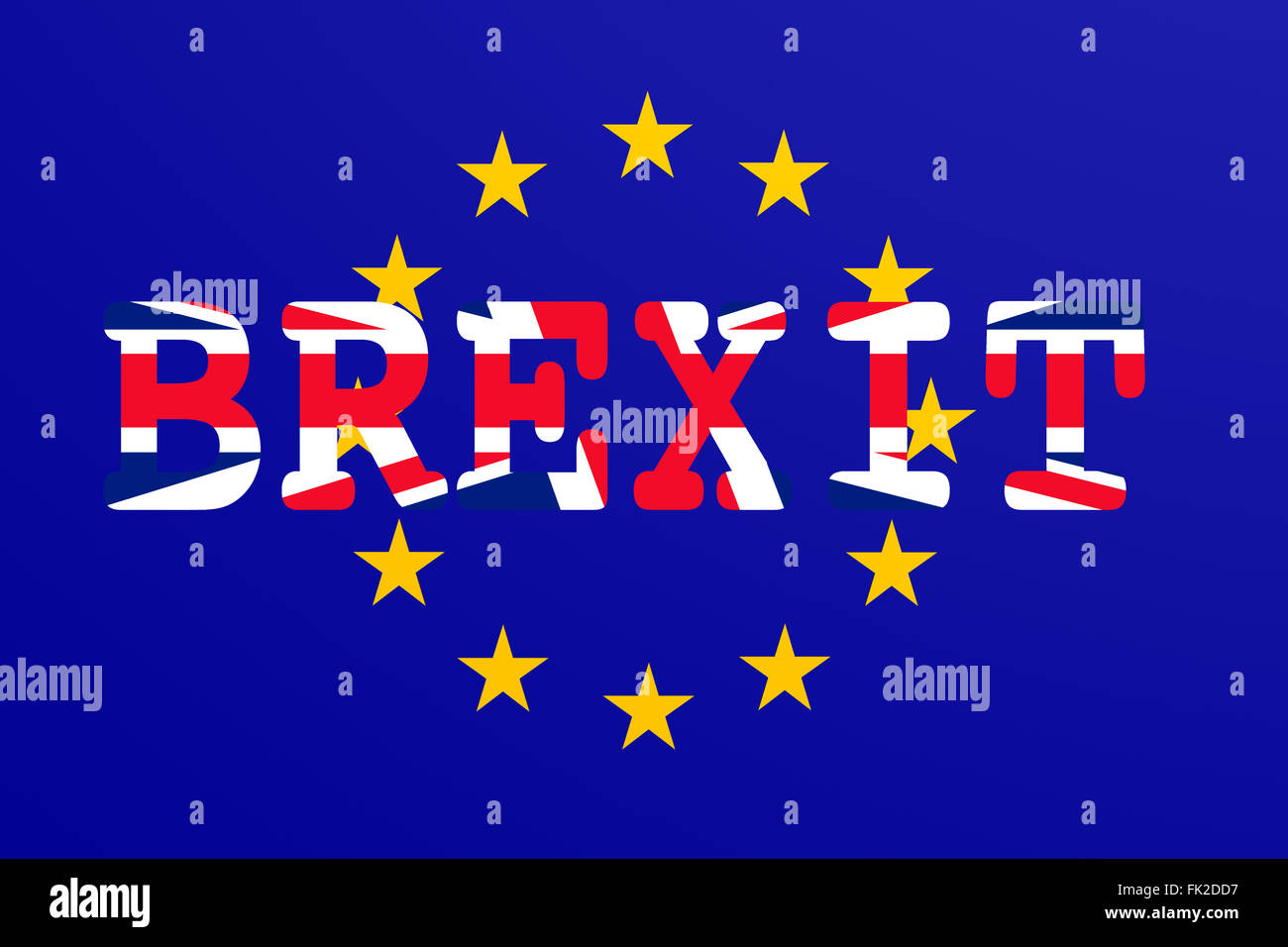 Brexit: Flags of the United Kingdom and the European Union to illustrate possible exit of Great Britain from the - Stock Image