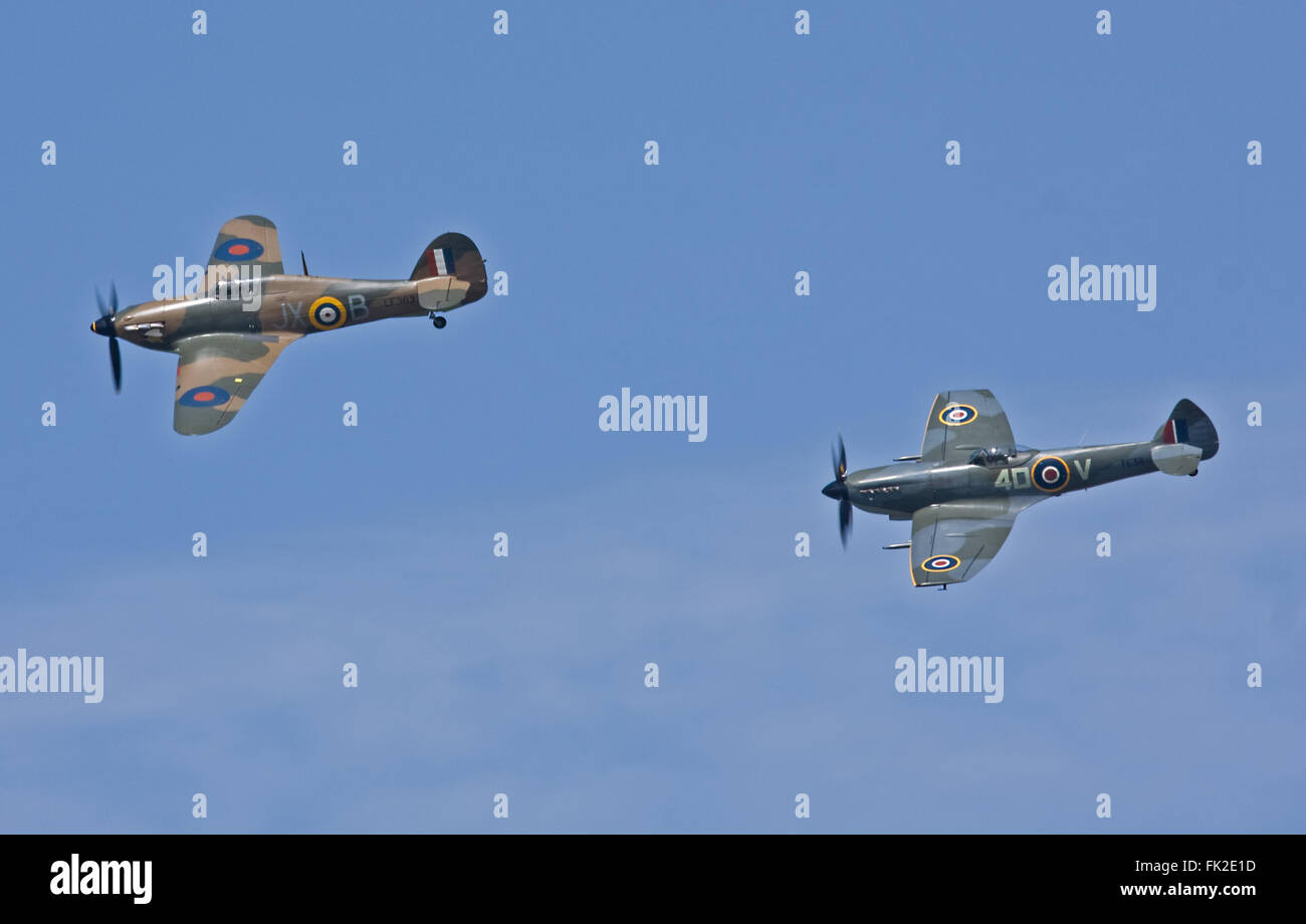 Hurricane LF363 and Spitfire TE311 from the BBMF. - Stock Image