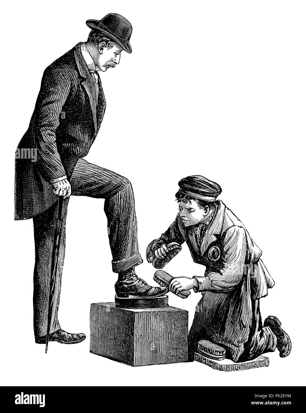 black and white engraving of a shoeshine boy polishing the shoes of a stock photo 97785960 alamy. Black Bedroom Furniture Sets. Home Design Ideas