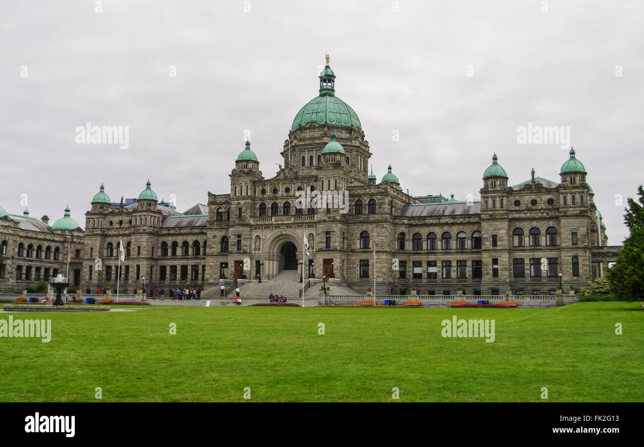 British Columbia Parliament Building on an overcast day. Victoria, British Columbia, Canada. - Stock Image
