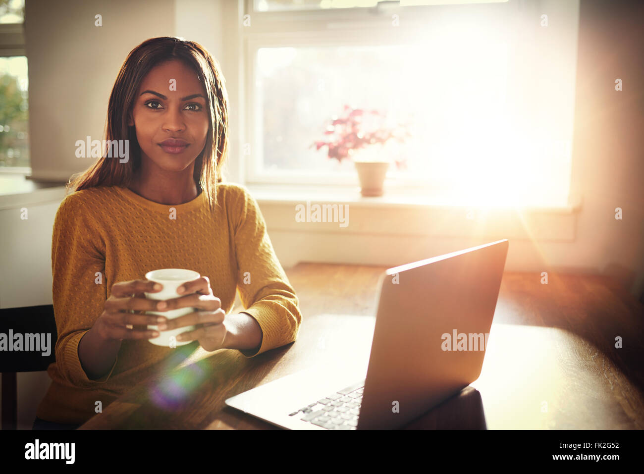 Serious young single female sitting at table holding coffee cup next to open laptop with bright sun coming through - Stock Image