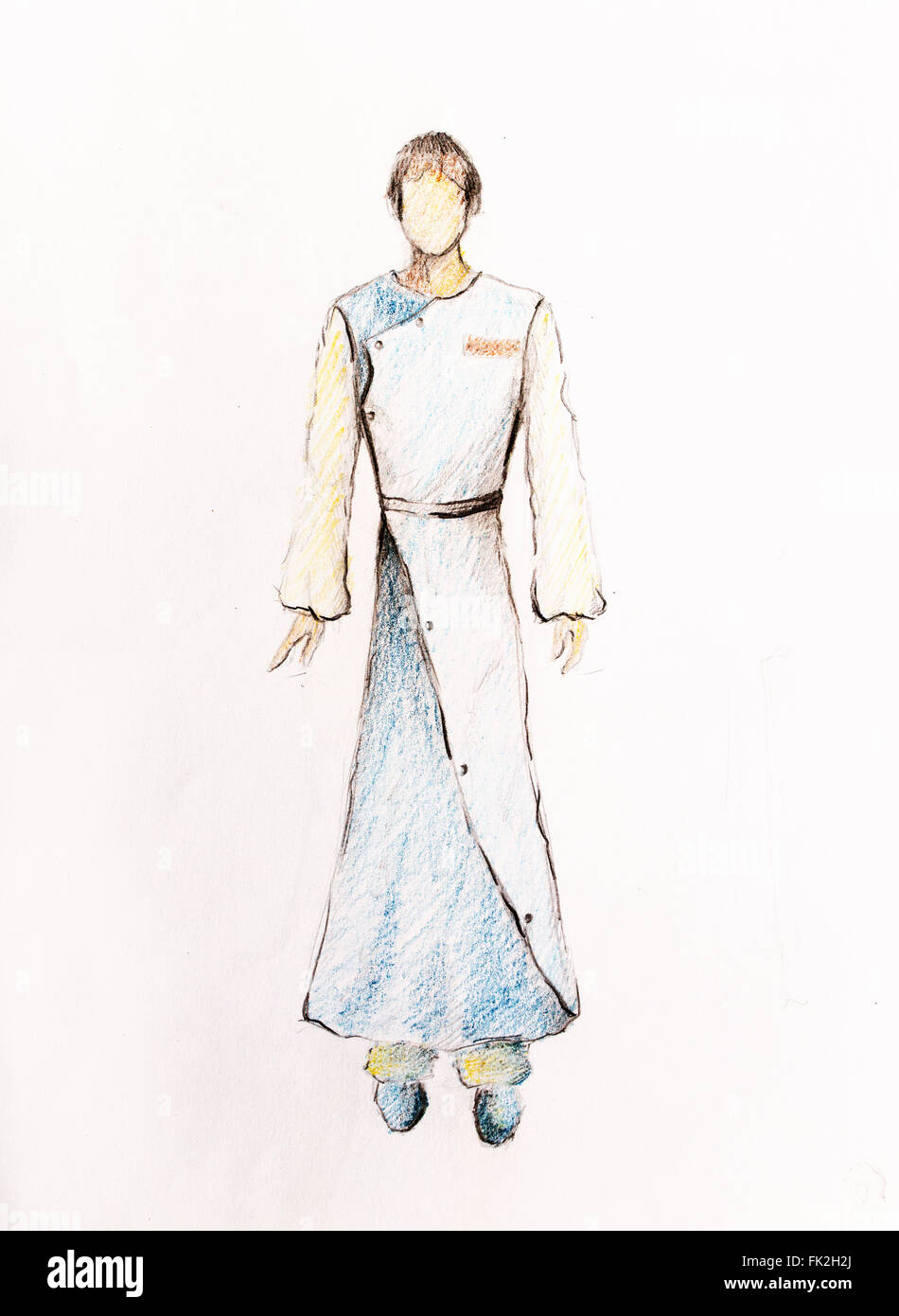 Drawing Fashion Male Clothes Color Pencil Sketch On Paper Stock Photo Alamy