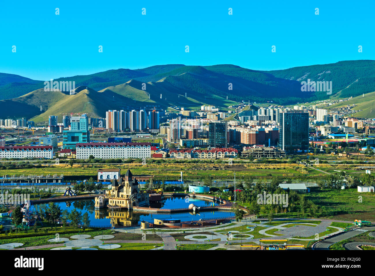 View over the National Amusement Park and the new residential areas in the South of Ulaanbataar, Capital of Mongolia - Stock Image