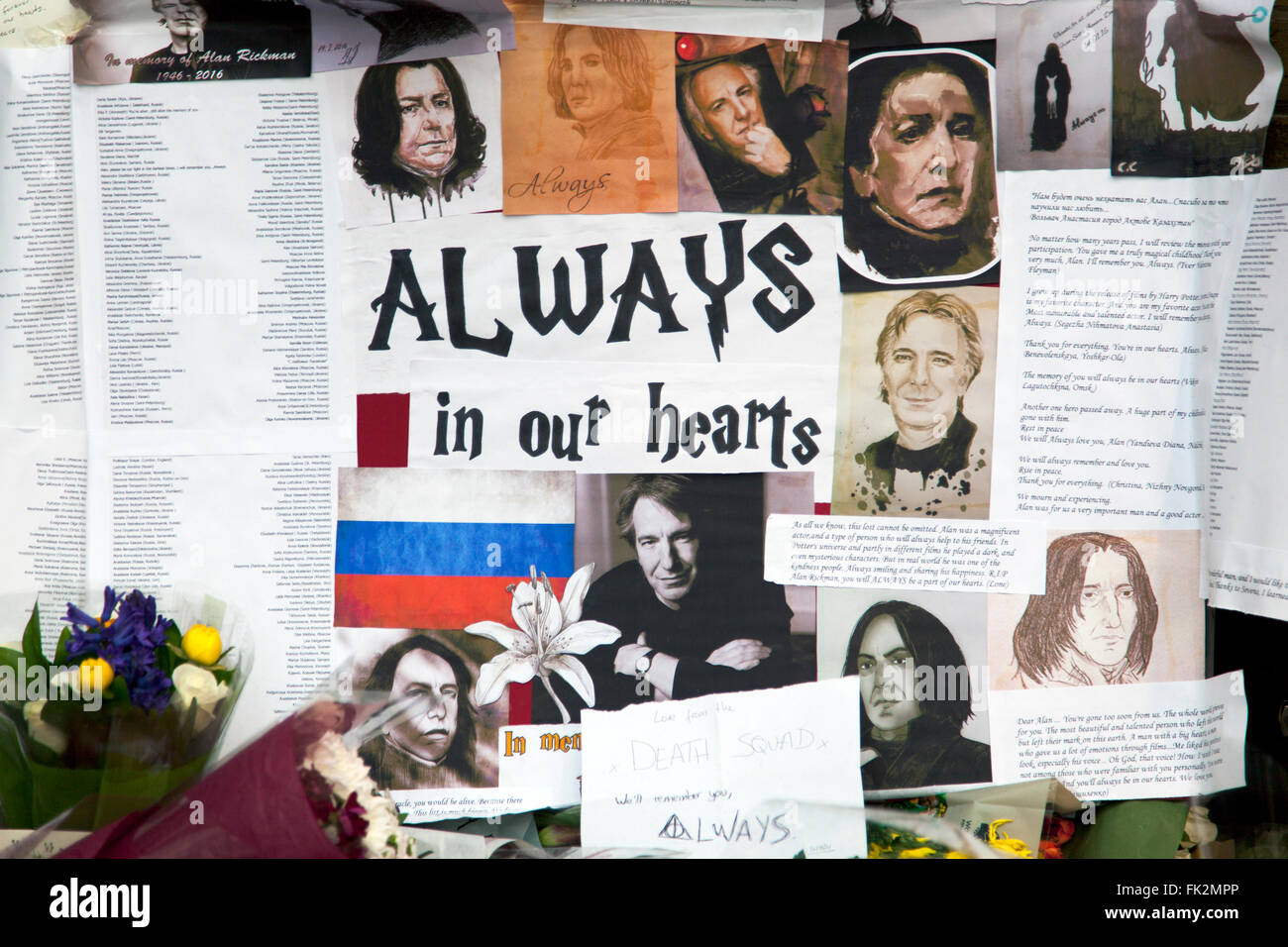 18th January 2016 London, UK - Fans lay cards and flowers at 9 1/2 platform in tribute of actor Alan Rickman after - Stock Image