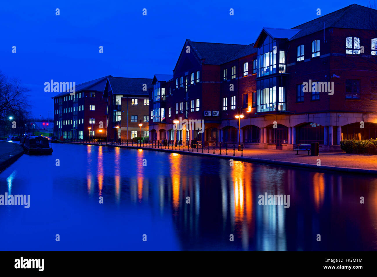The Leeds and Liverpool Canal in Wigan, Greater Manchester, England UK - Stock Image