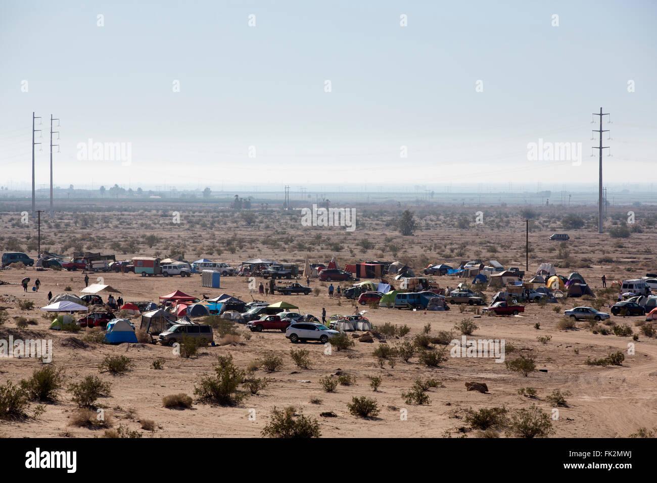 Desert encampment, Slab City, California, USA - Stock Image