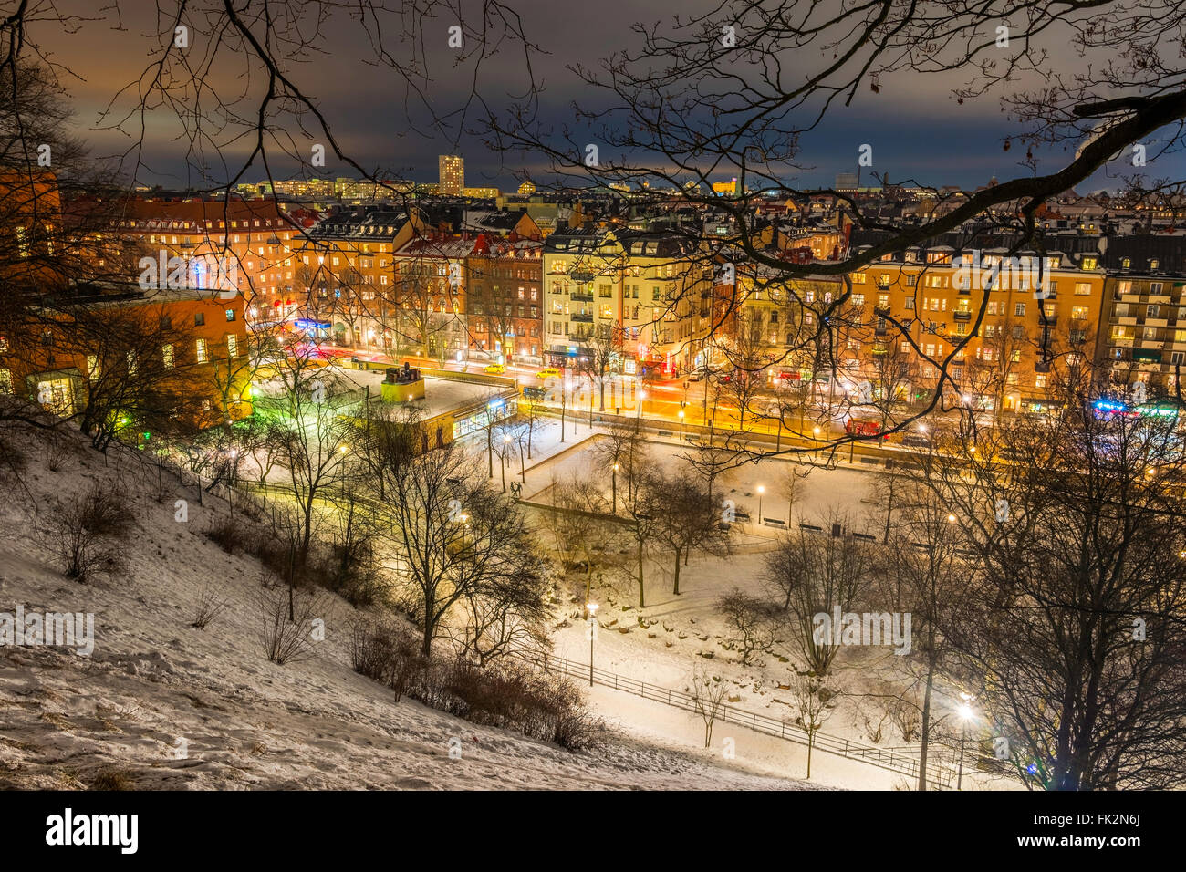 View northeast over Stockholm, seen from Observatorielunden, the old observatory hill in Norrmalm.  Street below Stock Photo