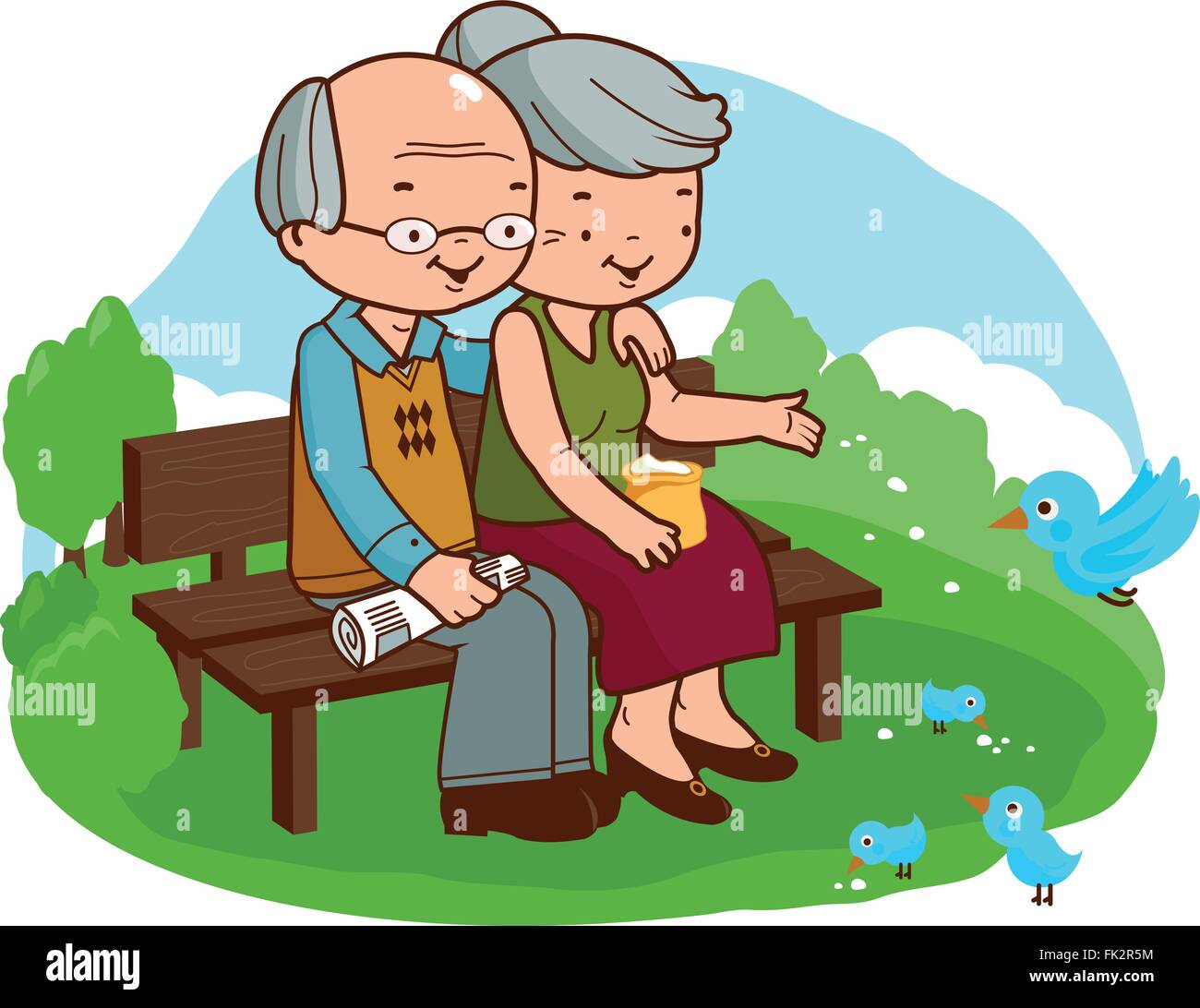 Senior couple at the park. - Stock Vector