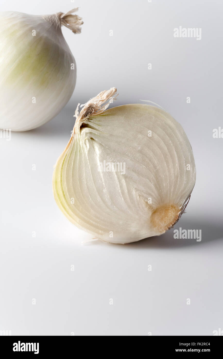 Whole and a half white onion on white background - Stock Image