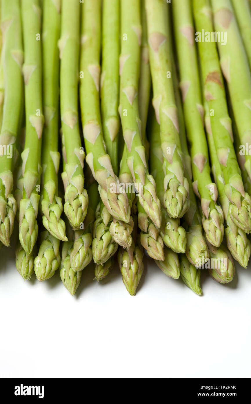 Healthy fresh green fine asparagus tips - Stock Image