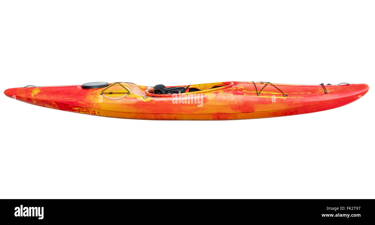 Side View Of Crossover Kayak Whitewater And River Running Isolated With A Clipping Path