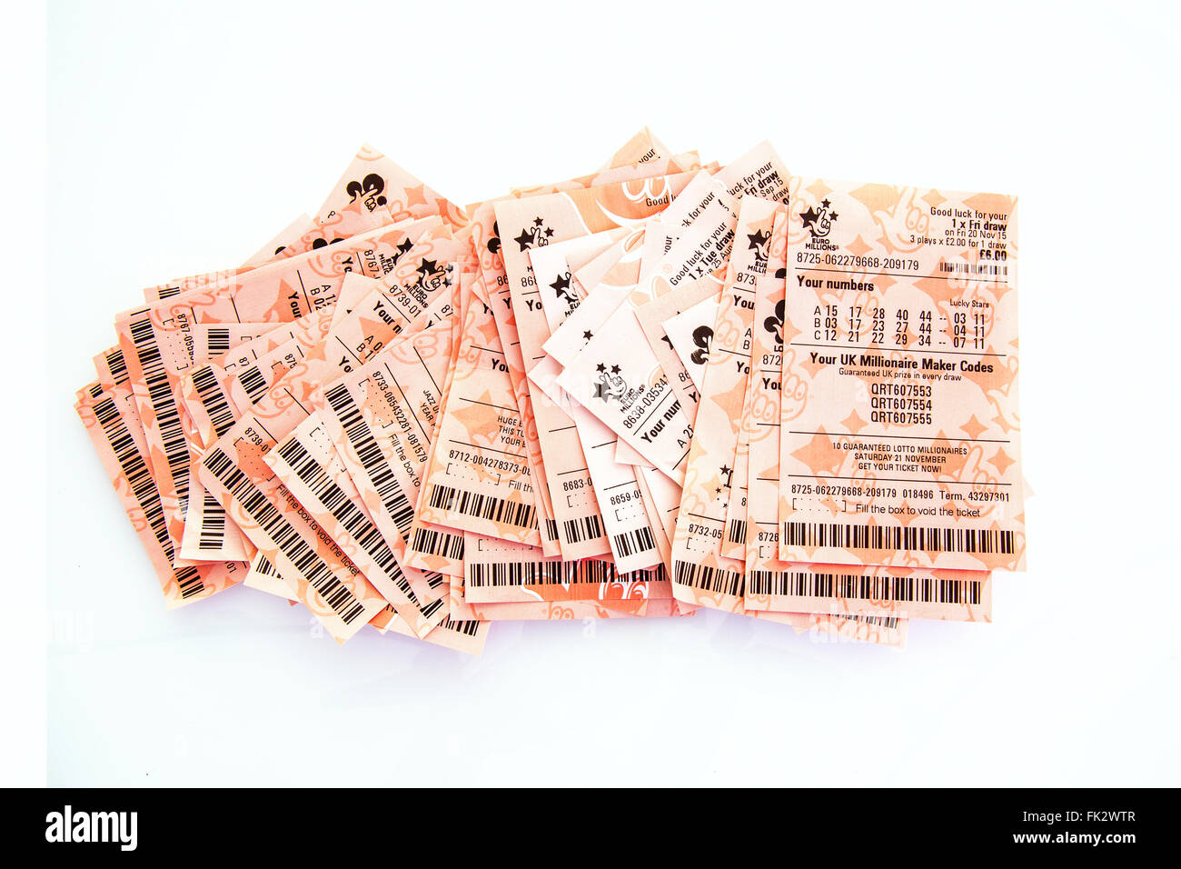 Row of losing lottery tickets on a white - Stock Image