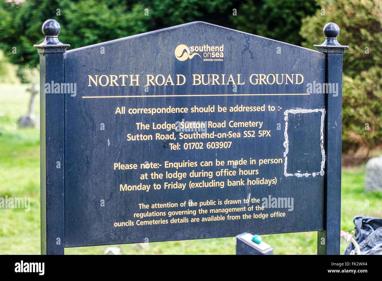 North Road Burial Ground is one of three cemeteries operated by the council in the Southend borough. Space for copy - Stock Image