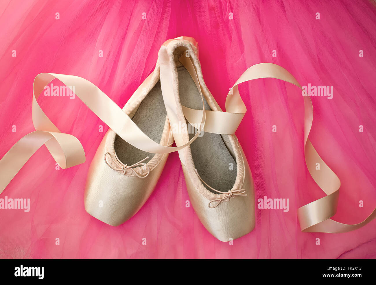 A pair of pointe shoes with ribbons and a pink tutu. - Stock Image